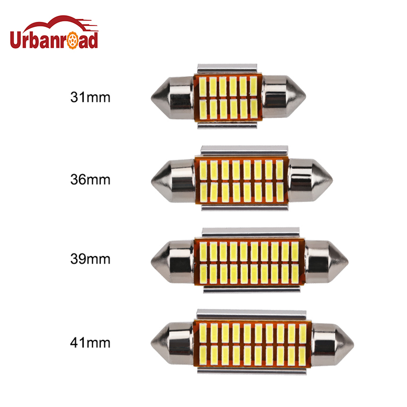 Urbanroad 4PCS 12V White Car Festoon Lights Auto Interior Dome Lamp Reading Bulb 31mm 36mm 39mm 41mm C5W C10W 4014 LED Blub 2pcs festoon led 36mm 39mm 41mm canbus auto led lamp 12v festoon dome light led car dome reading lights c5w led canbus 36mm 39mm