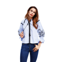 Blue Stripe Women Blouses 3/4 Puff Lantern Sleeve Casual Shirt Women Pullover New Lace Up Tassel Embroidery Short Slim Top