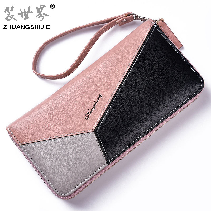 ZHUANGSHIJIE New Leather Women Wallets Long Design Clutch Candy Color Wallet High Quality Fashion Female Purse Phone Bags BB116 2018 new women wallets oil wax genuine leather high quality long design day clutch cowhide wallet fashion female card coin purse