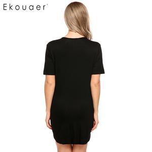 Image 5 - Ekouaer ชุดนอนสตรีเซ็กซี่สั้นแขนเสื้อปุ่ม Nightdress ชุดนอนชุดนอนหญิงชุดเสื้อผ้า