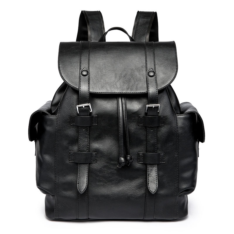 Men PU Leather Backpack Youth Travel Rucksack School Book Bag Male Laptop Business Bagpack Shoulder Bags