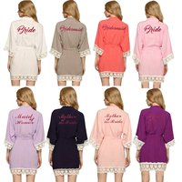 Cotton Bridesmaid Robes With Lace Trim Women Wedding Bridal Robe WITH Hot Pink 001