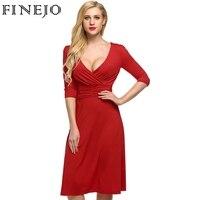 Finejo Brand 2016 Fashion Spring Sexy High Street Women Casual Half Sleeve Red Black Deep V