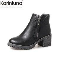 KARINLUNA Large Size 31 43 Retro Western Boots Women Shoes Woman Zip Up Autumn Winter Ankle