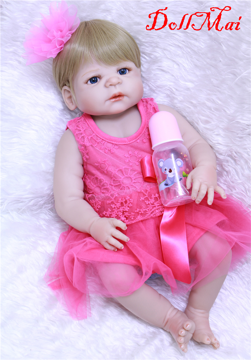 DollMai Full silicone reborn baby dolls 22 55cm newborn girl rose red dress magnetic pacifier bottle bebe real bonecas rebornDollMai Full silicone reborn baby dolls 22 55cm newborn girl rose red dress magnetic pacifier bottle bebe real bonecas reborn
