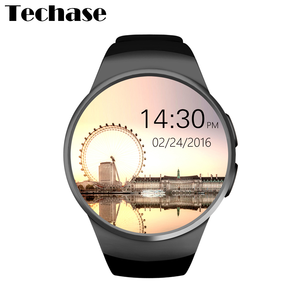 Techase Smartwatch KW18 Smart Watch Android/IOS Relogios Bluetooth Reloj Inteligente SIM Round Heart Rate Monitor Watch Clock bluetooth smart watch uc08 smartwatch sim card reloj inteligente support hebrew for iphone samsung huawei xiaomi android ios