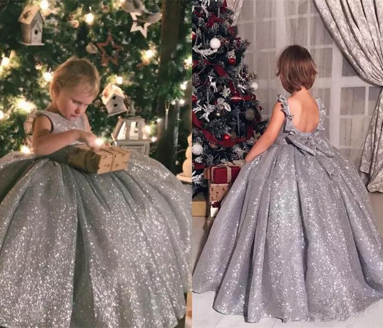 Luxury High Quality Customized   Flower     Girls     Dresses   Sliver Sequined Backless   Girls   Pageant   Dress   Ball Gown Any Size