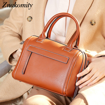 Znakomity Luxury Women Genuine Leather Boston Handbags Fashion Ladies Shoulder Bags Solid Crossbody Bag Large Capacity Tote 2019