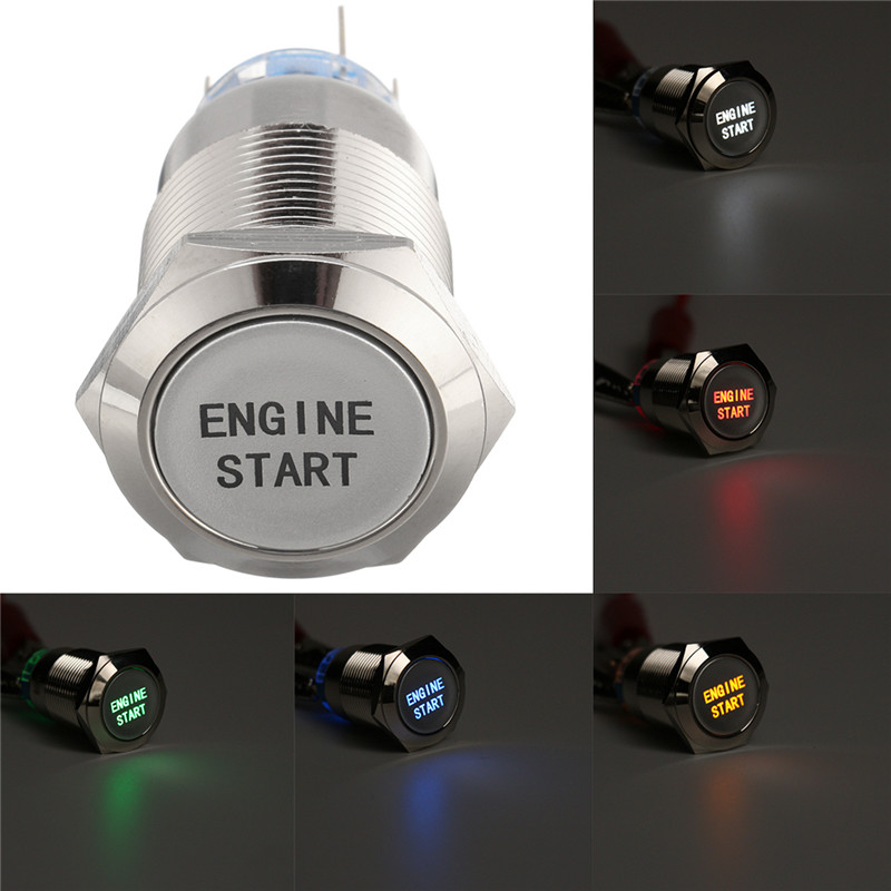 1PC 12V 19MM LED Momentary Engine Start Metal Push Button Switch Waterproof Latching Self-Locking Switch For Car Boat