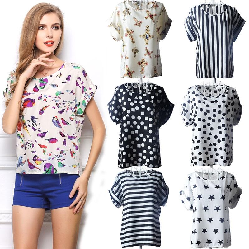 2018 Summer 19 Styles Casual Women   Blouse     Shirt   Batwing Sleeve Women's Tops Chiffon Blusas Feminina Blusa   Shirts   Camisa LY1213a