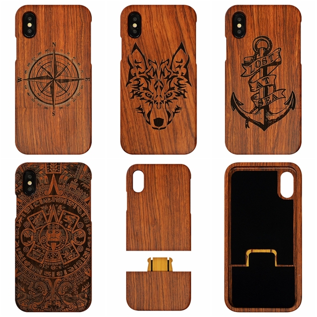 detailed look 217cb ff9e6 US $10.34 5% OFF|100% Real Wood Indian Skull Tribal Wolf Wood Phone Case  For iphone 8 7 7 8Plus 6 6S Plus Wooden Case For iphone8 5 5S X Compass-in  ...