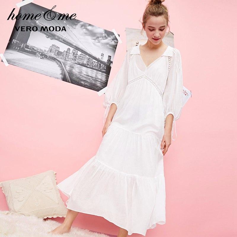 Vero Moda 100% Cotton See-through Two-piece Night Slip Dress | 31837C540