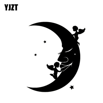 YJZT 10.8*12.9CM Baby Angels Playing On The Moon Car Sticker Silhoutte Decal Nice Design Black/Silver Covering The Body C20-1490 image