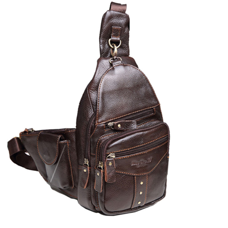 Men Genuine leather Cowhide Travel Retro famous brand High Quality Travel Messenger Shoulder Sling Day Pack Chest Bag New цена