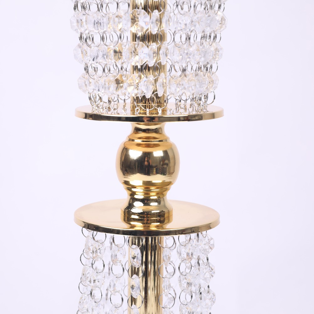 Clearance sale 80cm tall candle holders silver gold acrylic crystal wedding decoration flower centerpieces table centerpieces in candle holders from home