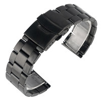 20mm 22mm Men Watchband Classic Black Metal Steel Fold Over Clasp With Safety Durable Replacement Watch