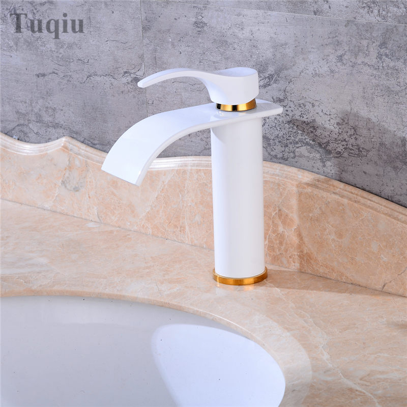 Free Shipping white bathroom sink faucet single handle single hole bathroom basin faucet cold and hot waterfall faucet micoe hot and cold water basin faucet mixer single handle single hole modern style chrome tap square multi function m hc203