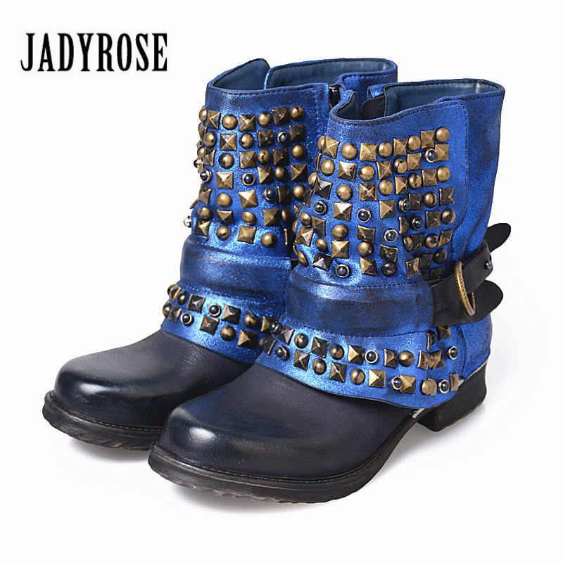 Jady Rose Full Rivets Women Ankle Boots Vintage Autumn Winter Belt Buckle Shoes Woman Side Zipper Genuine Leather Riding Boots mabaiwan handmade rivets military cowboy boots mid calf genuine leather women motorcycle boots vintage buckle straps shoes woman