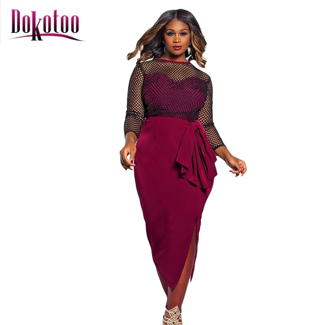 Dokotoo womens burgundy lace-up front midi dress