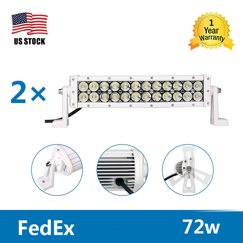 2X Yetaha 14 72W LED Bar Work headlight Offroad Driving Lights Lamp Wiring Kit Combo Spot Beam 7200LM 6000K For Jeep SUV
