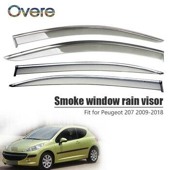 Overe 4Pcs/1Set Smoke Window Rain Visor For Peugeot 207 2009-2013 2014 2015 2016 2017 2018 Awnings Shelters Accessories