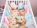 6Pcs/Sets Kawaii  Style Fleece Baby Bed  Bumper Cartoon Elephant Multi Functional Baby Chair  Cushion  Cushions Crib Bumper