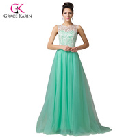 Gorgeous GraceKarin Black White Blue Green Sleeveless Lace Retro Formal Evening Dress Masquerade Gown Long Prom