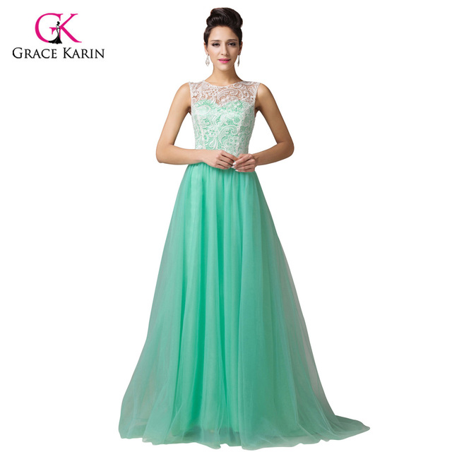 ef94e2daebe Green Yellow Lace Long Evening Dresses Grace Karin abendkleider 2018  Sleeveless elegant Formal Party Gowns robe de soiree