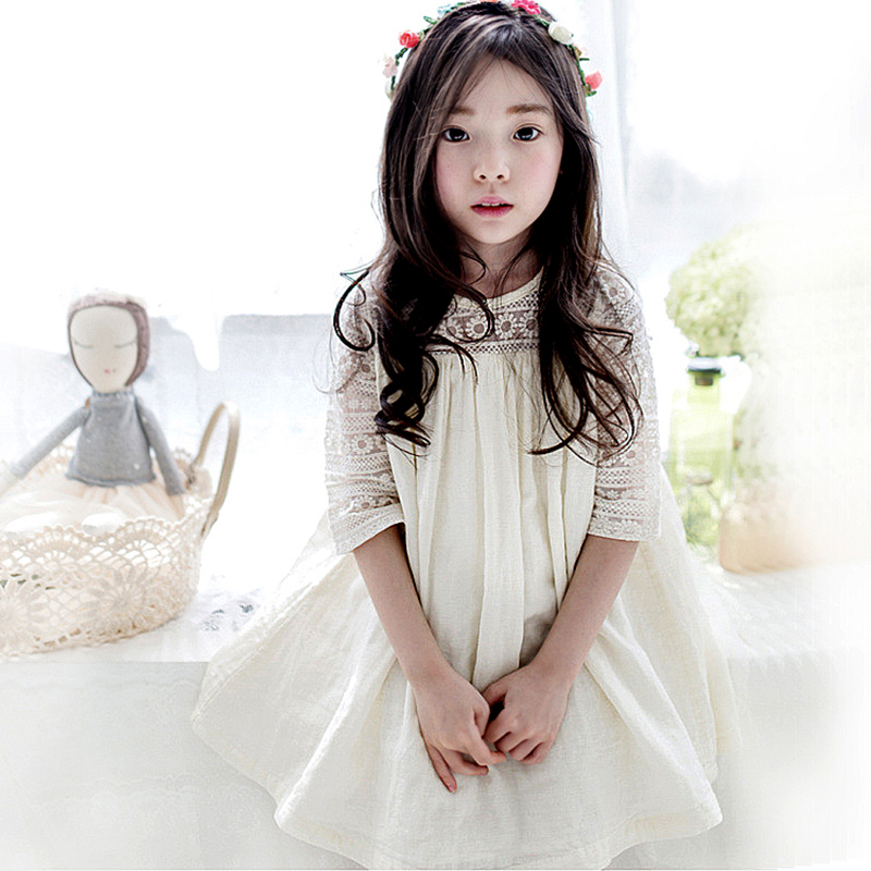 2017 Summer New Children Clothes Girls Beautiful Lace Dress Baby Girls Lovely Lace A-line Dresses Girls Kids Summer Dress 2016 new summer lovely girls dress kids colorful a line leisure fashion dresses children clothing