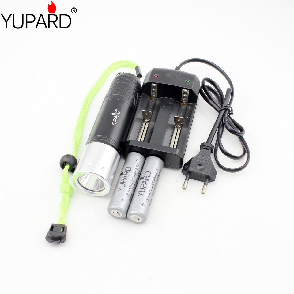 YUPARD Diving diver XM-L2 T6 LED White yellow 60m lantern Torch Waterproof Flashlight underwater lamp+18650 battery+charger yupard xm l t6 led yellow light torch flashlight diving lamp diver lantern underwater waterproof 26650 18650 battery