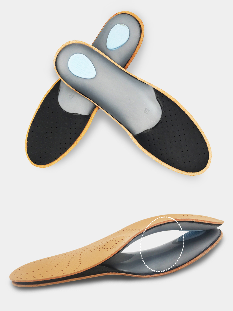 ⑤Kotlikoff 3D Premium cuero Orthotics pie plano plantilla arco de ...