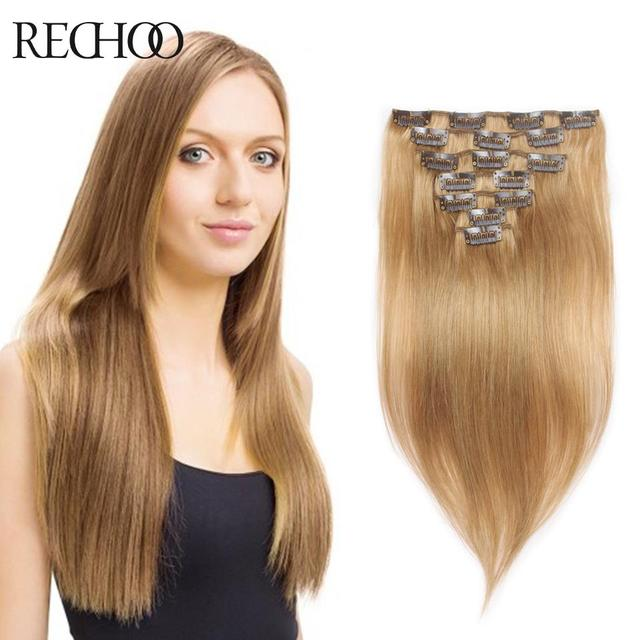 Aliexpress Buy Full Head Clip In Human Hair Extensions