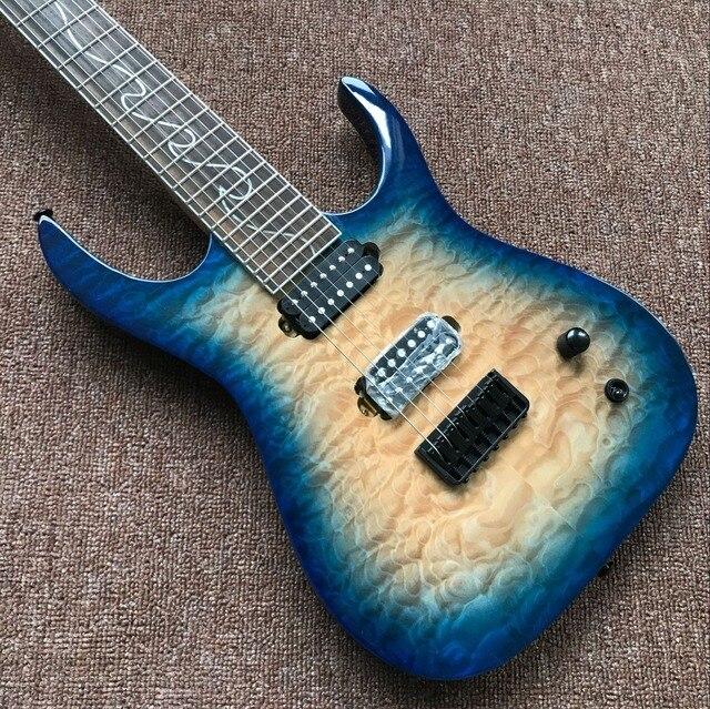 Custom Handmade 6 String Electric Guitar. Blue flame  1