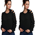 2016 Women Tops T-shirt Long Sleeve Hollow out Punk Rock Pok Style Women's O-Neck Fashion Cotton Clothing