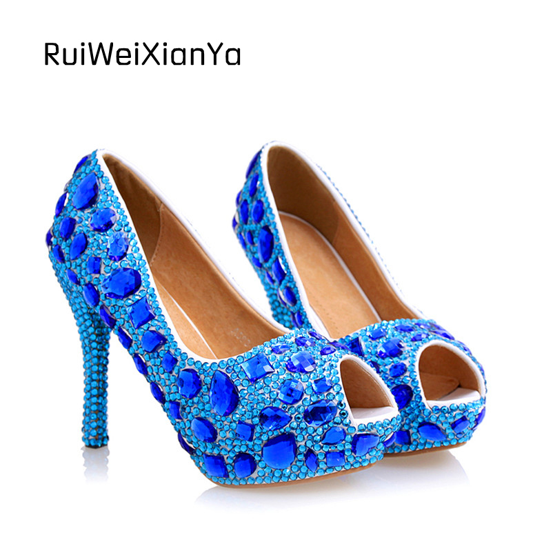 2017 New Fashion Spring Sexy Peep-toe Blue Bridal Wedding Shoes Crystal Diamond Women Shoes High Heels Platform Pumps Hot Sale 2017 new fashion spring ladies pointed toe shoes woman flats crystal diamond silver wedding shoes for bridal plus size hot sale