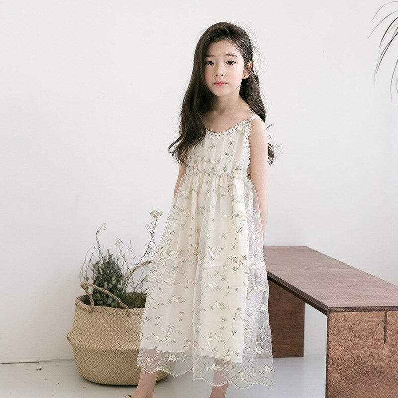 Enfant été mode femme tenue fleurs bretelles robe sans manches princesse fille dentelle vestidos de novia 6 7 8 9 10 12 ans