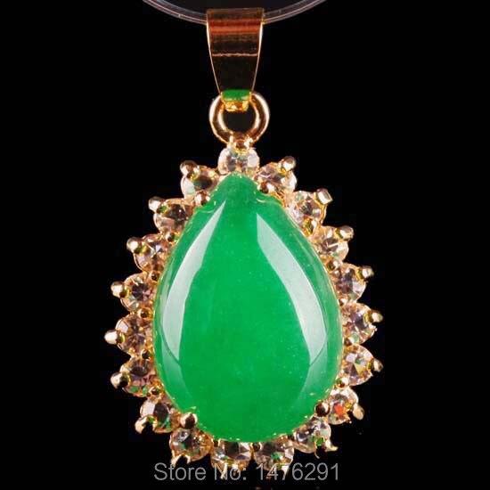 New 25X38MM Exquisite Green Jades Inlaid Crystal Bead Drop Pendant 1PCS