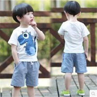 EMS DHL Free Shipping Wholesale NEW Boys 2pc Sumer Set T Shirt Pants Dinosaurs Suit Baby