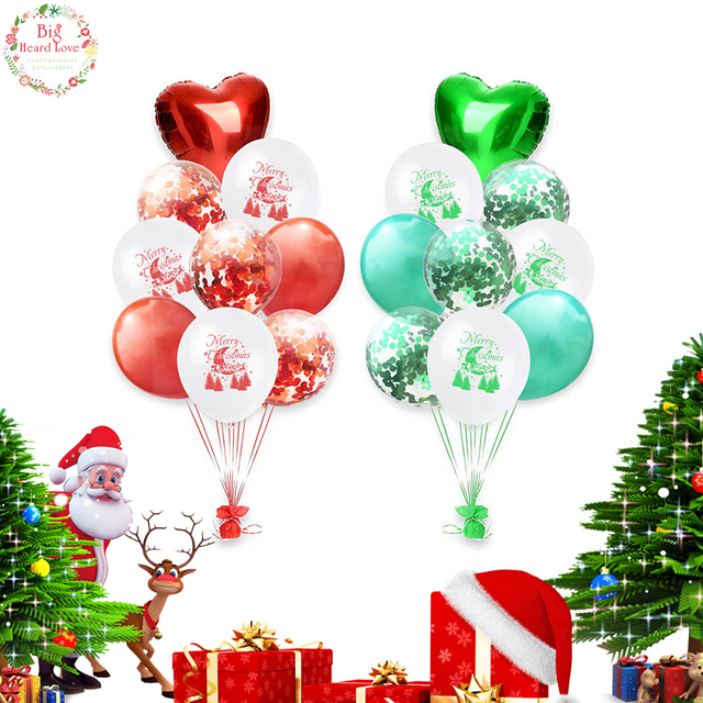 Christmas Tree Balloon.Us 1 99 10 Off 9pcs 1lot 12inch Red Green Heart Christmas Tree Balloon Latex Aluminum Foil Confetti Balloon Christmas Party Decoration Supplies In