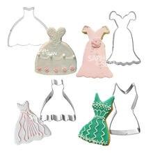 5 Styles en acier inoxydable mariage femme robe emporte-pièces Fondant Biscuits coupe outils décorations