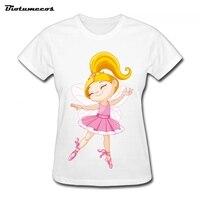 2017 T-shirt do Verão Mulheres Casual Top Tees Camiseta de Algodão Confortável O-pescoço Camisa de Manga Curta T Impresso Dança Imagem WTW011