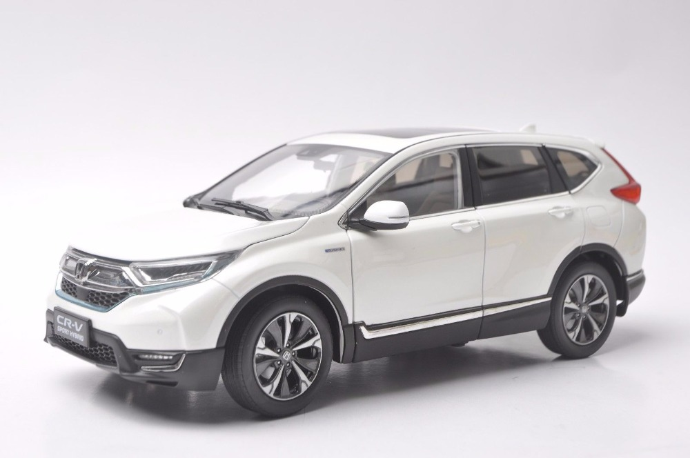 1:18 Diecast Model for Honda CR-V 2017 Sport Hybrid White SUV Alloy Toy Car Miniature Collection Gifts CRV CR V for honda crv cr v 2017 2018 stainless steel inner