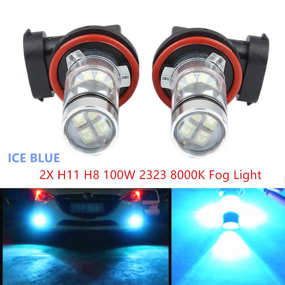 2PCS H11 H8 LED Car Fog Light 100W Samsung 2323 Driving DRL 6000k White Bulbs