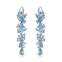 GEM'S BALLET 19.66Ct Natural Sky Blue Topaz Gemstone Earrings 925 Sterling Sliver Leaves Drop Earrings For Women Fine Jewelry