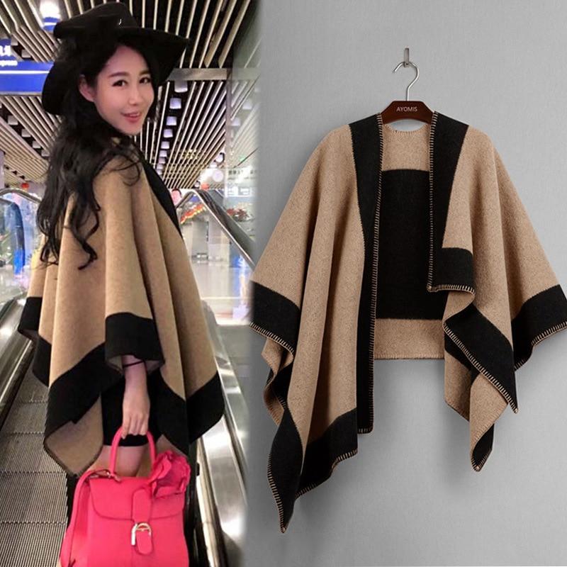 Autumn And Winter Keep Warm Ma'am Scarf Cashmere Originality Cloak Thickening Shawl Scarf
