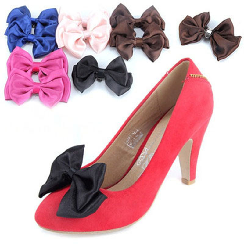 2017 New removable Shoes Bow tie silk corsage decorative flower perfect neutral bowknot Shoe flower Shoes accessories for women bow shoes clips decorative shop shoe accessories shoe clip crystal rhinestones charm material n2287