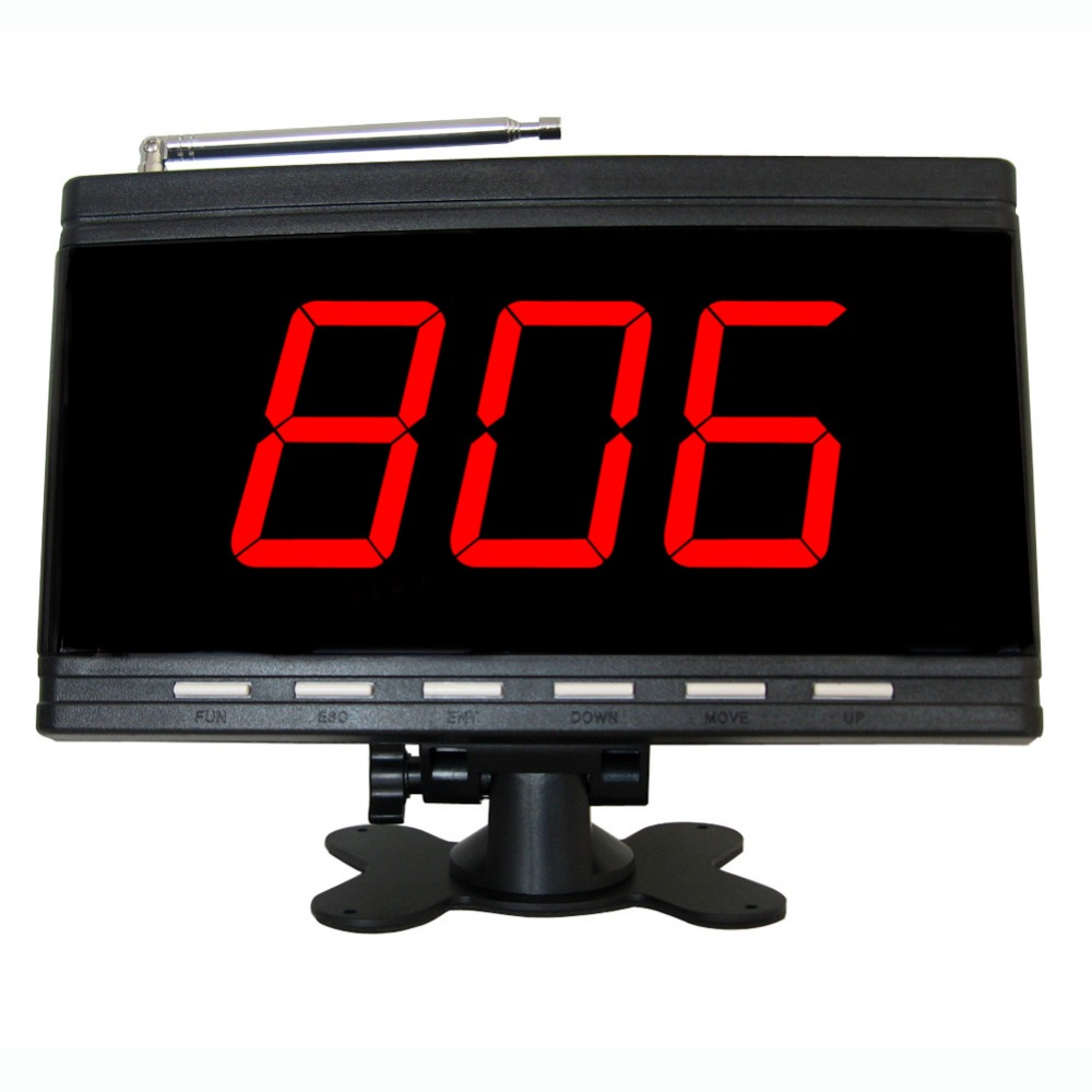 wireless calling system,server paging system for restaurant,coffee shop,office,factory,supermarket.3 digits display receiver wireless pager system 433 92mhz wireless restaurant table buzzer with monitor and watch receiver 3 display 42 call button