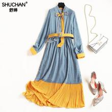 Shuchan Vestido Longo Chiffon Dress New 2019 Clothes Print A-line Sashes Mid-calf Beautiful Dresses Are Long For Women 10061 цена