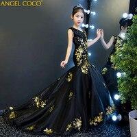 Детская платье девушки показывают костюмы Подиум принцесса платье Черное золото блестками Свадьба День рождения Русалка вечернее платье х