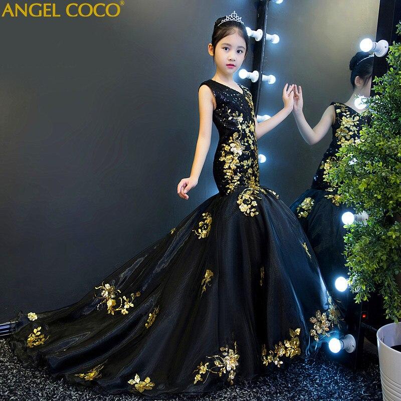 Детское платье для девочек, костюмы для подиума, платье принцессы, черное, золотое, с блестками, для свадьбы, дня рождения, вечернее платье русалки, халат, Longue